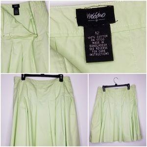Mossimo Sz 12 Cotton Soft Lime Pleated Skirt